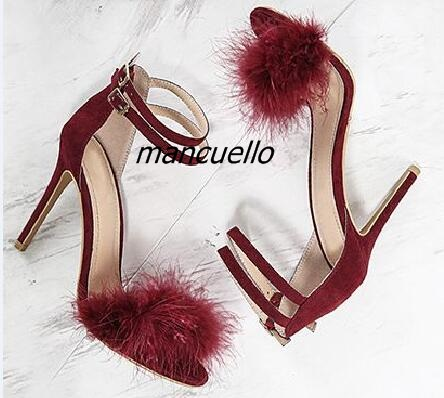 Fancy Buckle Style Fur Decorated Thin Heel Sandals Women Classy Burgundy Suede Open Toe Stiletto Heels Date Dress Shoes майка truespin star white s