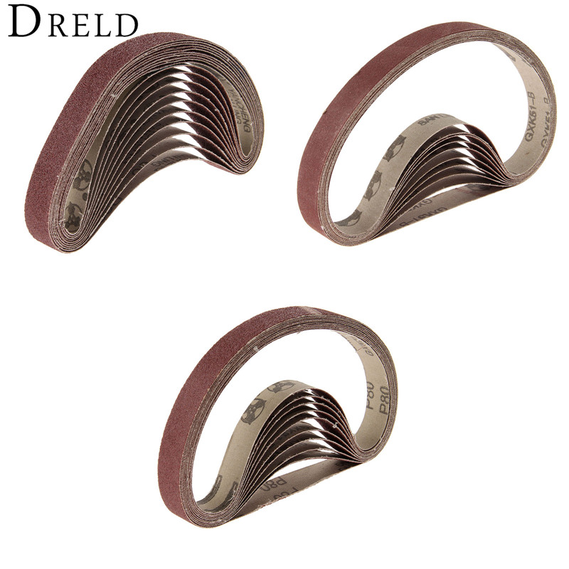 10Pcs Dremel Accessories 20x520mm Abrasive Sanding Belts Grit 60/80/120 Belt Sander For Grinding Polishing Sander Power Tools