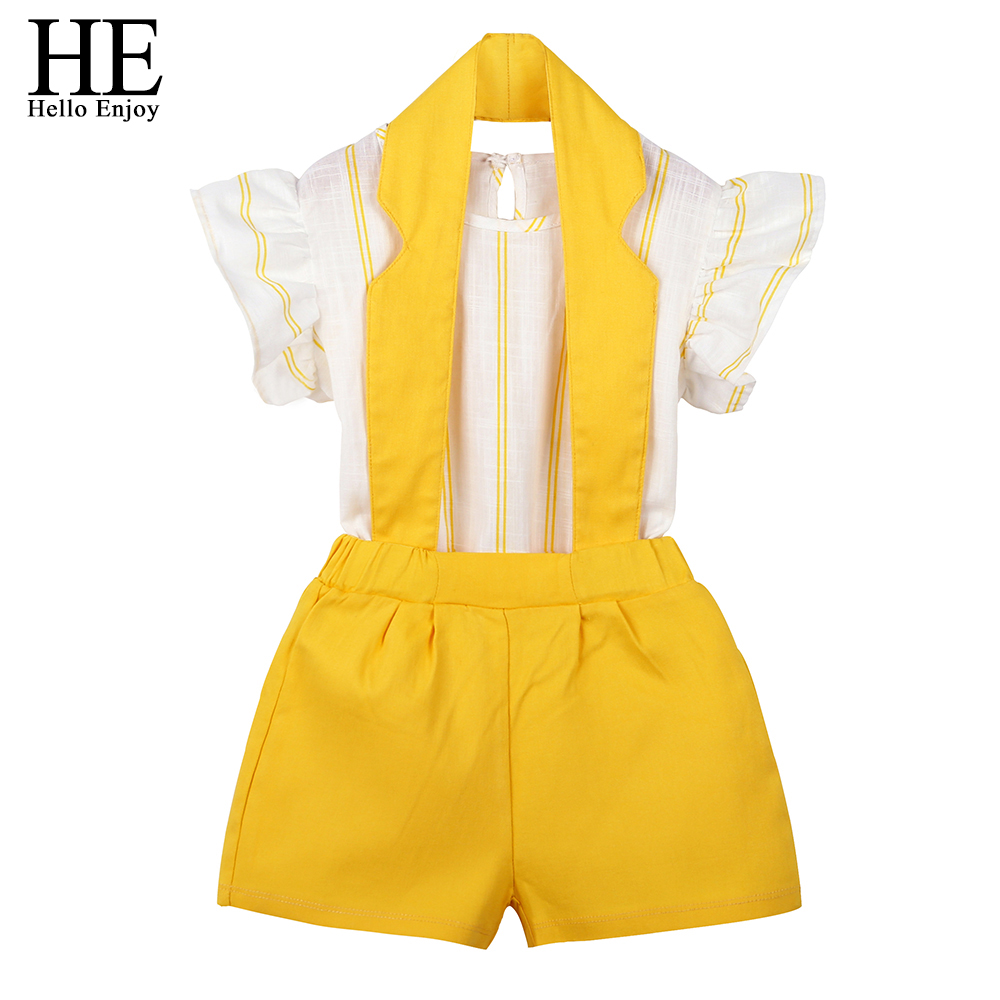 HE Hello Enjoy Kids Clothing Sets Children Clothes Fashion Sleeveless Stripe Tops+Hanging Neck Straps Shorts 2PCS Girls OutfitHE Hello Enjoy Kids Clothing Sets Children Clothes Fashion Sleeveless Stripe Tops+Hanging Neck Straps Shorts 2PCS Girls Outfit