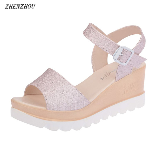 Free shipping Women's shoes 2018 summer woman sandals muffin top waterproof platform students' belt buckles with button sandals.
