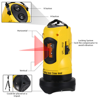 2 Lines Cross Laser Level Device 360 Rotary Vertical & Horizontal Can Be Used with Overrange Alarm Household Outdoor Receiver