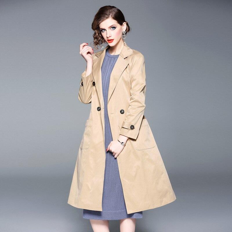 Femmes Ligne Manches Complet Collier Tranchée Nouveau Automne Angleterre Une Kaki Style Manteaux Longue Solide Baissez 2018 twO7AvqqP