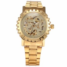 WINNER Gold Tone Roman Automatic Dragon Dial Mens Skeleton Steampunk Mechanical Movement Wrist Watch Relogio Masculino