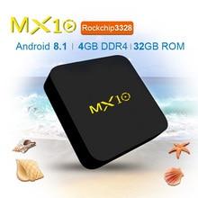 MX10 4GB DDR4 32GB eMMC Android 7.1 TV BOX RK3328 Quad Core 17.4 4K HDR 2.4GHz WIFI USB 3.0 Smart Set Top Box PK H96 protx