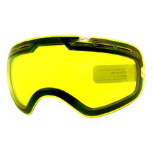 LOCLE 7 Colors Anti fog UV400 Ski Goggles Lens Brightening Lens For Weak Light Weather Cloudy