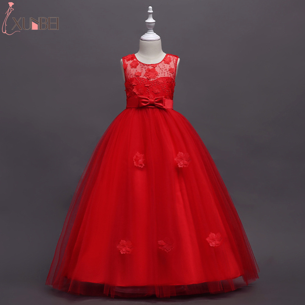 Pretty Tulle Floor Length Flower Girl Dresses With Sash Appliqued