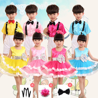 New 2018 Baby Girl Princess Party Dance Costumes Performing Veil Tutu Dance Dress Vestidos Chorus clothes Boys Belt pants