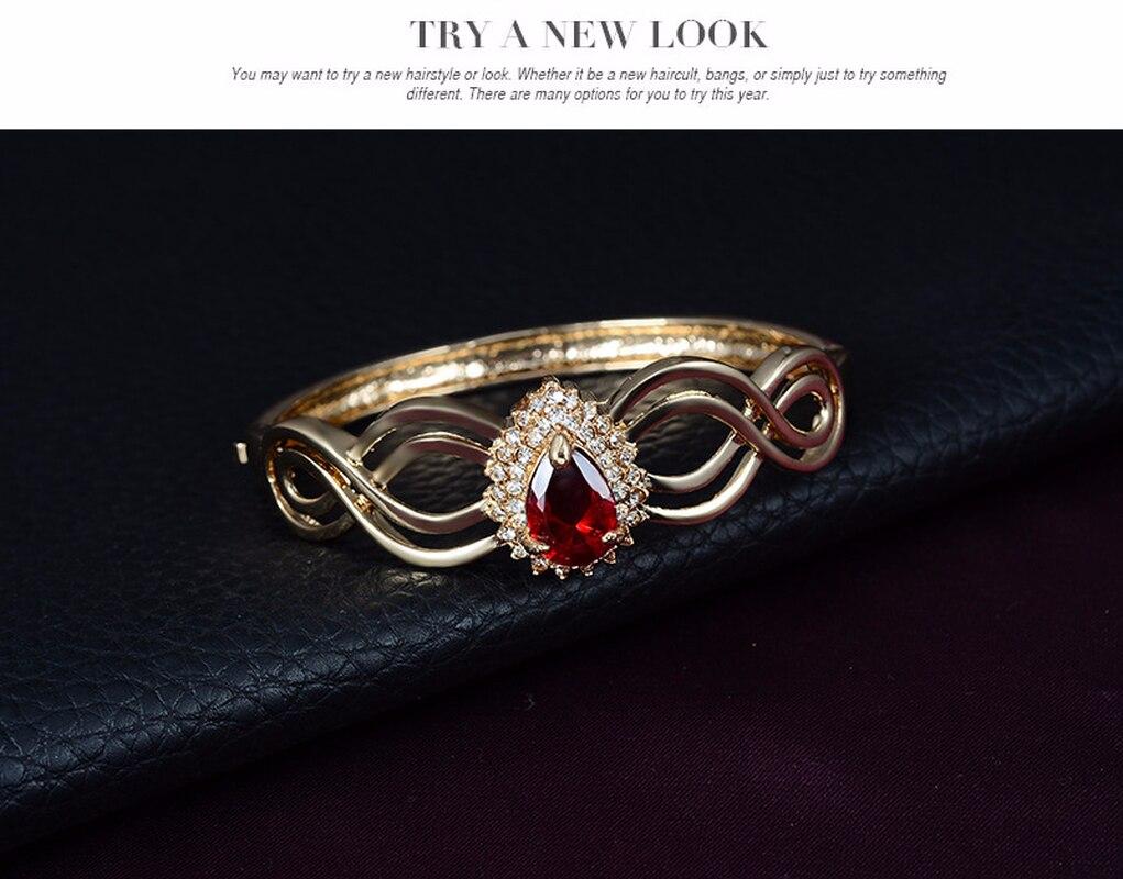 Liffly Dubai Rot Kristall Schmuck Sets für Frauen Charme Braut Halskette Ohrringe Ring Armband Hochzeit Schmuck-Sets für Braut