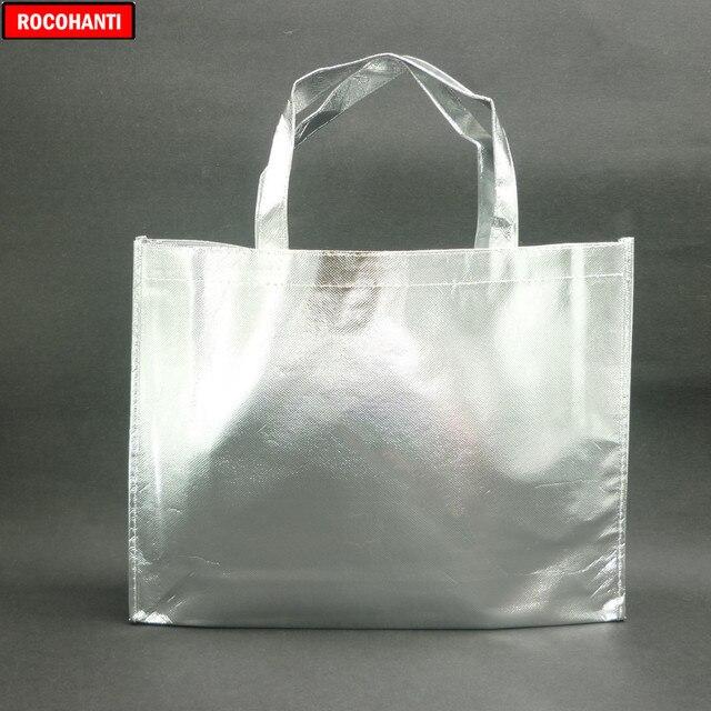 10 piezas personalizadas película láser Laminado metálico cosido bolso para compras no tejido bolsa Color plata