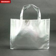 10 sztuk laser niestandardowy Film laminowana metaliczna szyta włókninowa torba na zakupy w kolorze srebrnym