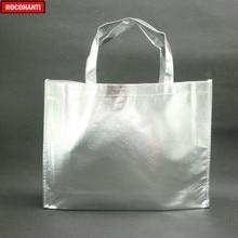 10 조각 맞춤형 레이저 필름 적층 금속 바느질 비 짠 쇼핑 토트 백 실버 색상
