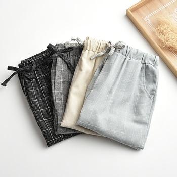 Pantalones de lino modernos, pantalones de pierna ancha de cintura ancha informales, Pantalones rectos, pantalones holgados de talla grande a cuadros