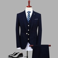 3pc Suit Men Fashion 2017 Autumn Groom Marriage Dress Suits Slim Fit Business Casual Jackets Men