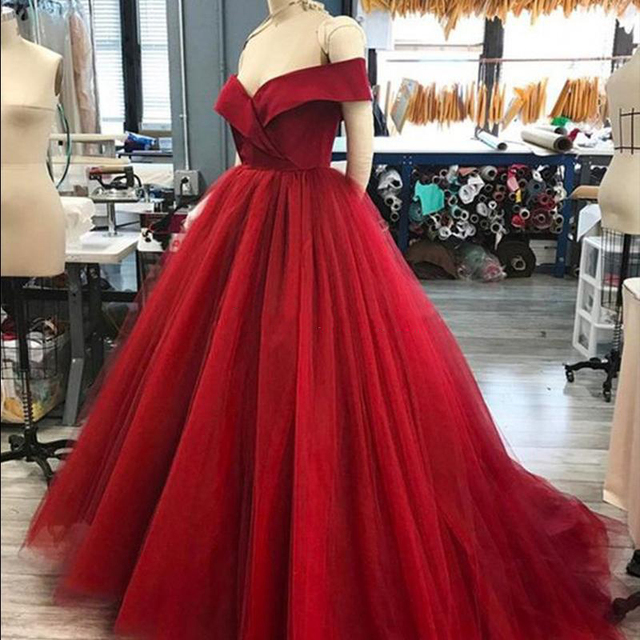 bb546b89da8 Dark Red Ball Gown Party Dresses Off Shoulder Satin Tulle Elegant Evening  Gowns Custom Made Sweep Train Formal Prom Gowns-in Dresses from Women s  Clothing ...