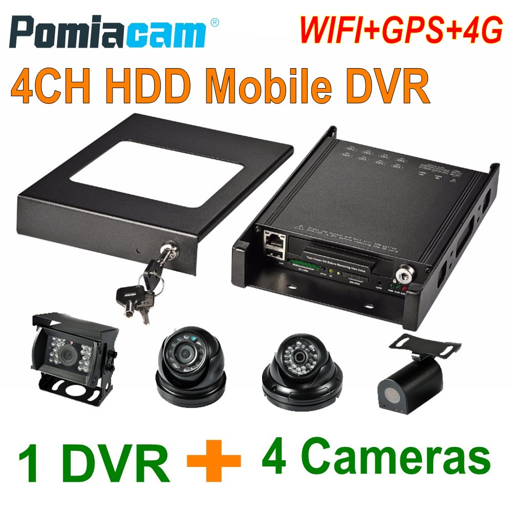 HDVR8045 4CH HDD Mobile DVR With 4PCS 1080P Cameras GPS WIFI 3G 4G Car Bus Vehicle DVR Mobile HDD Video Record System