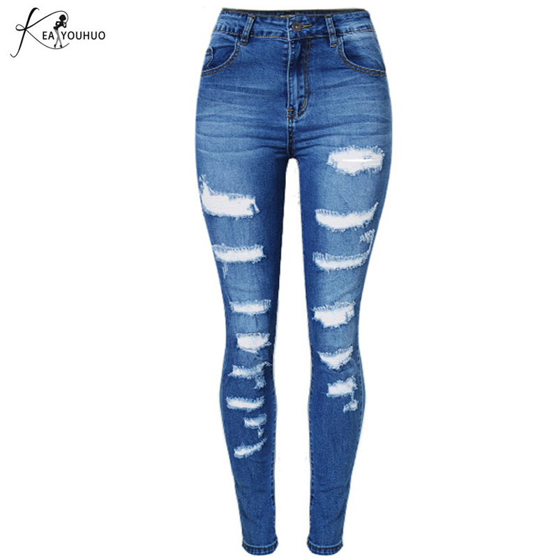 New Spring 2018 Boyfriend Skinny Jeans Woman Ladies Denim Pants Ripped Jeans For Women High Waist Jeans Female Pantalon Trousers