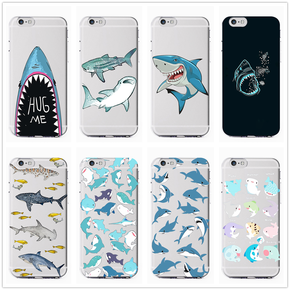Sharks Cartoon Cute Hollow Fashion Soft Silicone Transparent Phone Case Cover For Iphone 11Pro MAX 6 6s 7 8plus 5s X XS XR XSMax