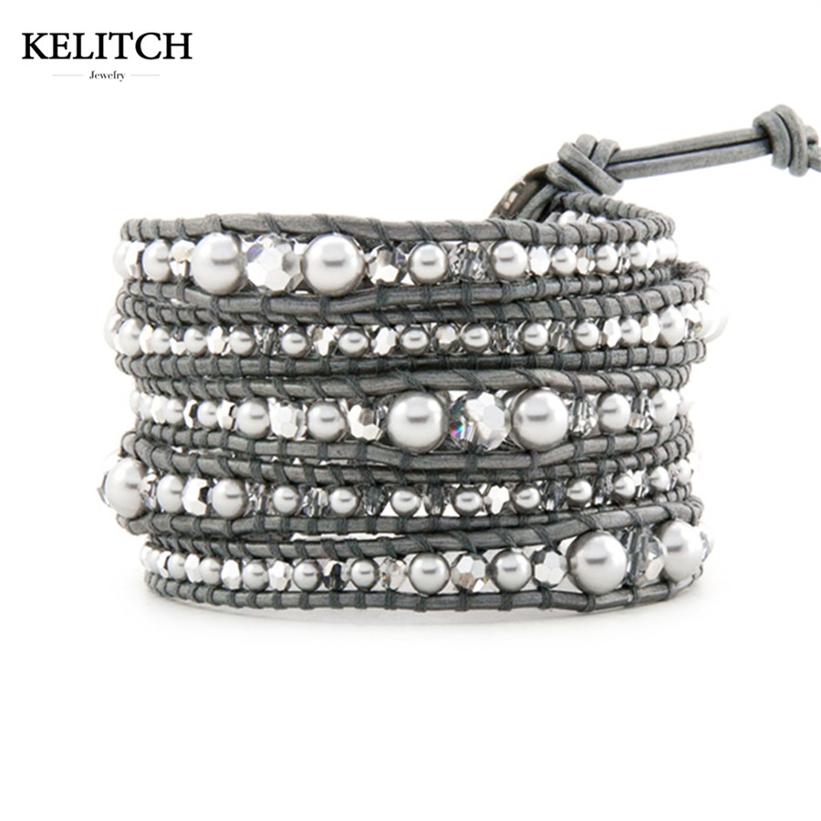 KELITCH Bracelets Jewelry Silver Pearl & AB Crystal Beads On Gray Leather Multilayers Wrap Friendship Bracelets For Women Bijoux friendship bracelets
