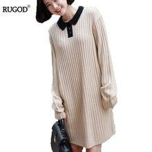Rugod 2018 новый зимний свитер платье Для женщин пуловер вязаный джемпер платье Питер Пэн воротник Рождественский свитер с длинными рукавами платье