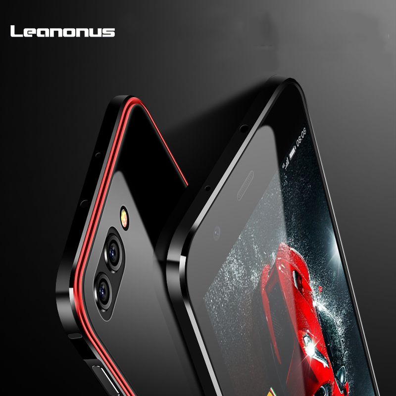 for Huawei Honor View 10 10 Case 9H Tempered Glass Back Mirror Case for Honor 10 V10 Cover Plating PC Metal Frame Hard Coque iPhone XS