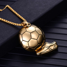 Bike Jewelry Football Necklace Stainless Steel Gothic Biker Pendant & Chain For Men/Women Punk Gift Gold Color dropshipping