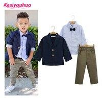 Children Clothing Gentlemen Kids Casual Boys Clothing Sets Coat Jacket T Shirt Pants 3 Pcs Sports