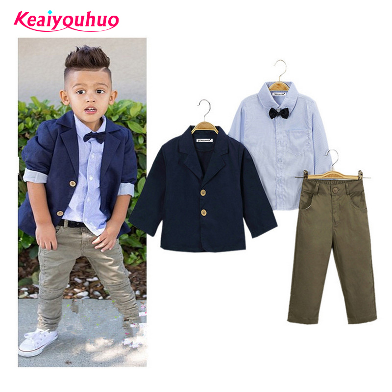 Children Clothing Gentlemen kids casual boys clothing sets coat jacket T-shirt pants 3 pcs sports sets 2016 New Spring Autumn