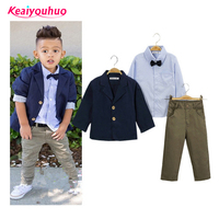 Children Clothing Gentlemen Kids Casual Boys Clothing Sets Coat Jacket T Shirt Pants 3 Pcs Sports