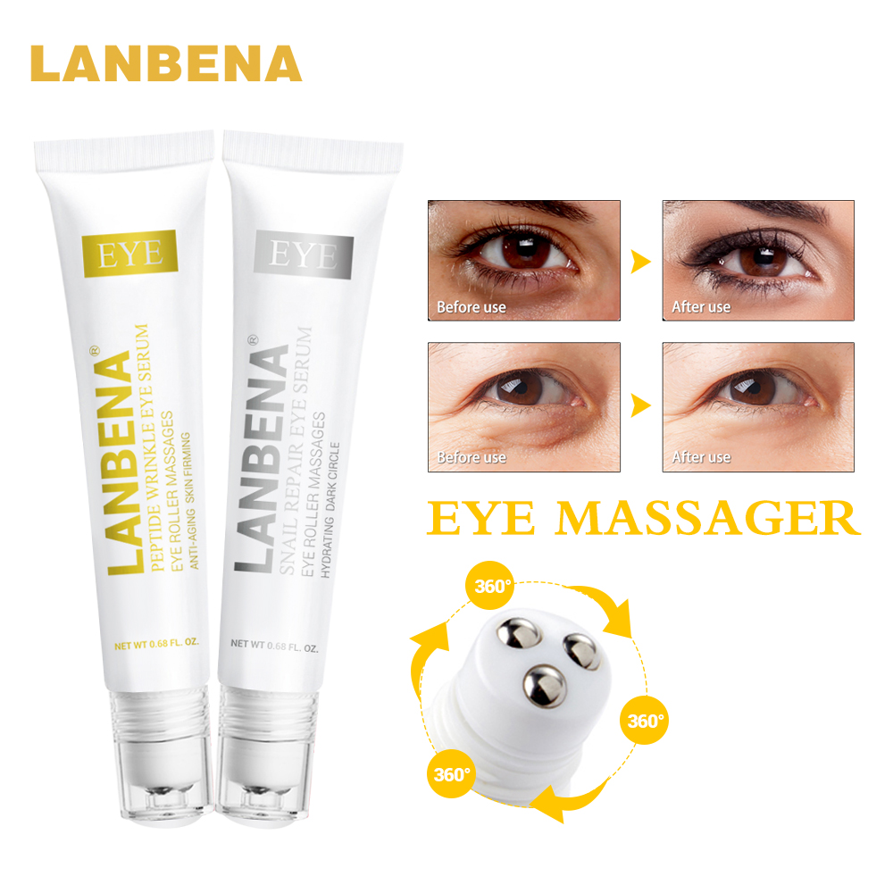 LANBENA Peptide Anti Aging Eye Serum+Snail Repair Eye Cream Anti-Wrinkle Dark Circle Anti-Puffiness Skin Care Whitening 2PCS