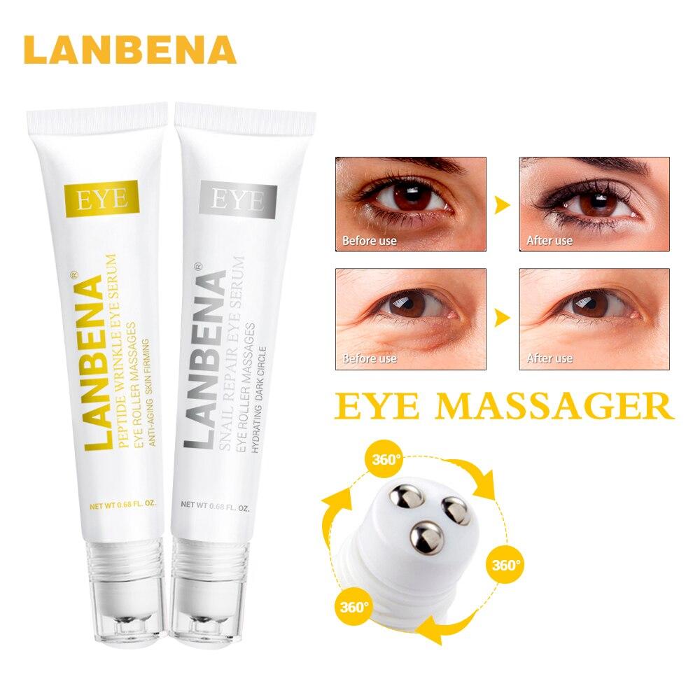 LANBENA пептид против старения глаз Сыворотки + Snail Repair Eye Cream Anti-wrinkle Темно кругом anti-отечность Уход за кожей отбеливание 2 шт.