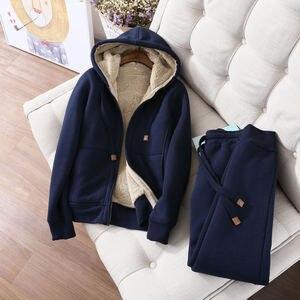 Image 4 - Autumn Winter Sweatshirt Women Plus Velvet Oversized Hoodies Jacket Long Sleeve Sweatshirt Sportswear Warm Womens Hoodies Z64