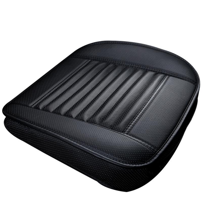 1 piezas negro asiento de coche sin respaldo de cuero de la PU de carbón de bambú cojín del asiento de coche automóviles de protección no-cubierta asiento