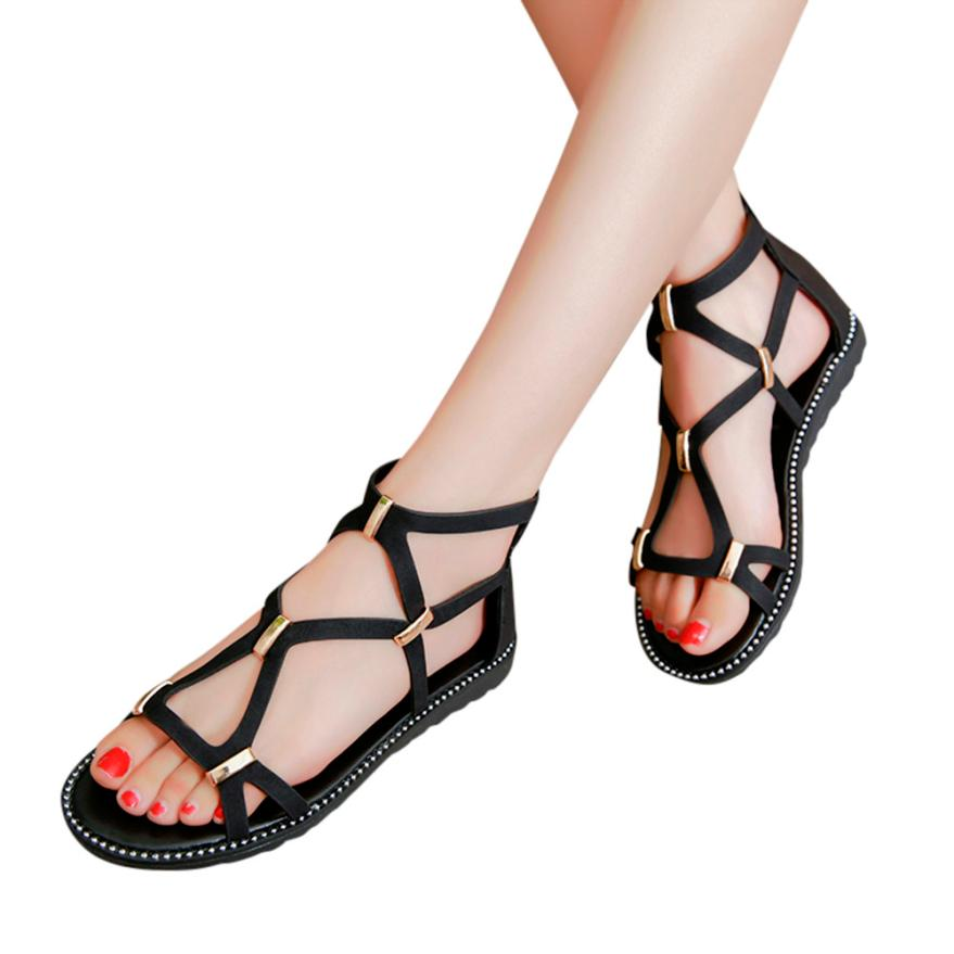 Women's Sandals Vintage Women Round Toe Zipper Flat Sandal ...
