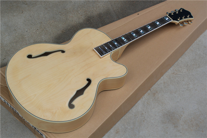 factory custom natural wood color hollow body electric guitar with golden bridge colorful pearl. Black Bedroom Furniture Sets. Home Design Ideas