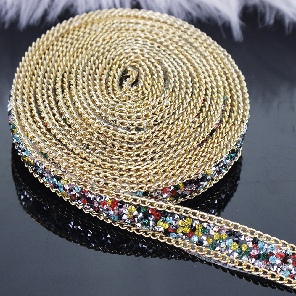2yard Beaded Hotfix Rhinestones Gold Chain Iron On Crystal Reel Chain Applique Embellishment Craft Sewing Accessories