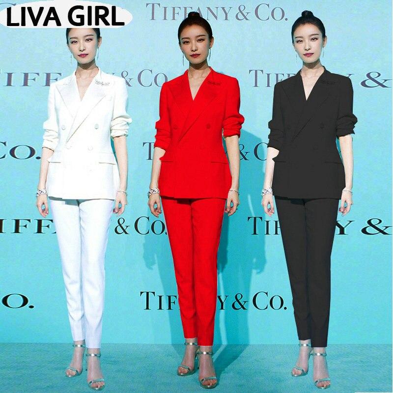 New Wild Fashion Suit Female Big Red Black White Professional Suit Jacket Slim Thin Suit Pants Two Sets