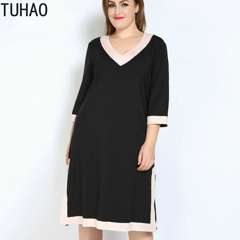 TUHAO Women Plus Size 7XL 6XL 5XL High Quality Elegant Office Lady Dress Casual OL Split Dresses Spring Summer Party Vestidos RL