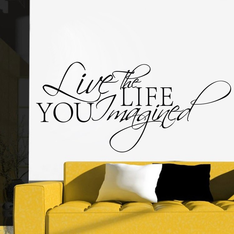 Free Shipping Live The Life You Imagined Quote Saying Wall