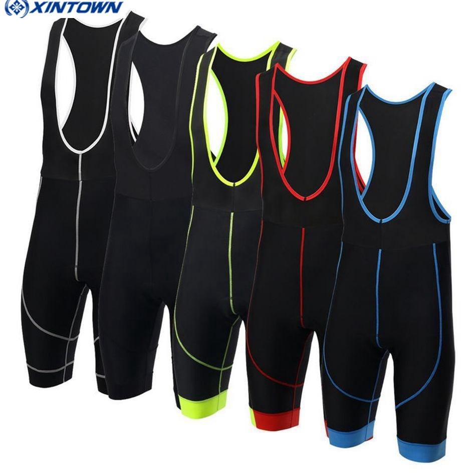 2018 XINTOWN Bib shorts para ciclismo Hombres / Pantalones cortos de ciclismo para mujer Ciclismo Pantalones cortos con peto acolchado 3D pro red Ropa de ciclismo Ropa de bicicleta