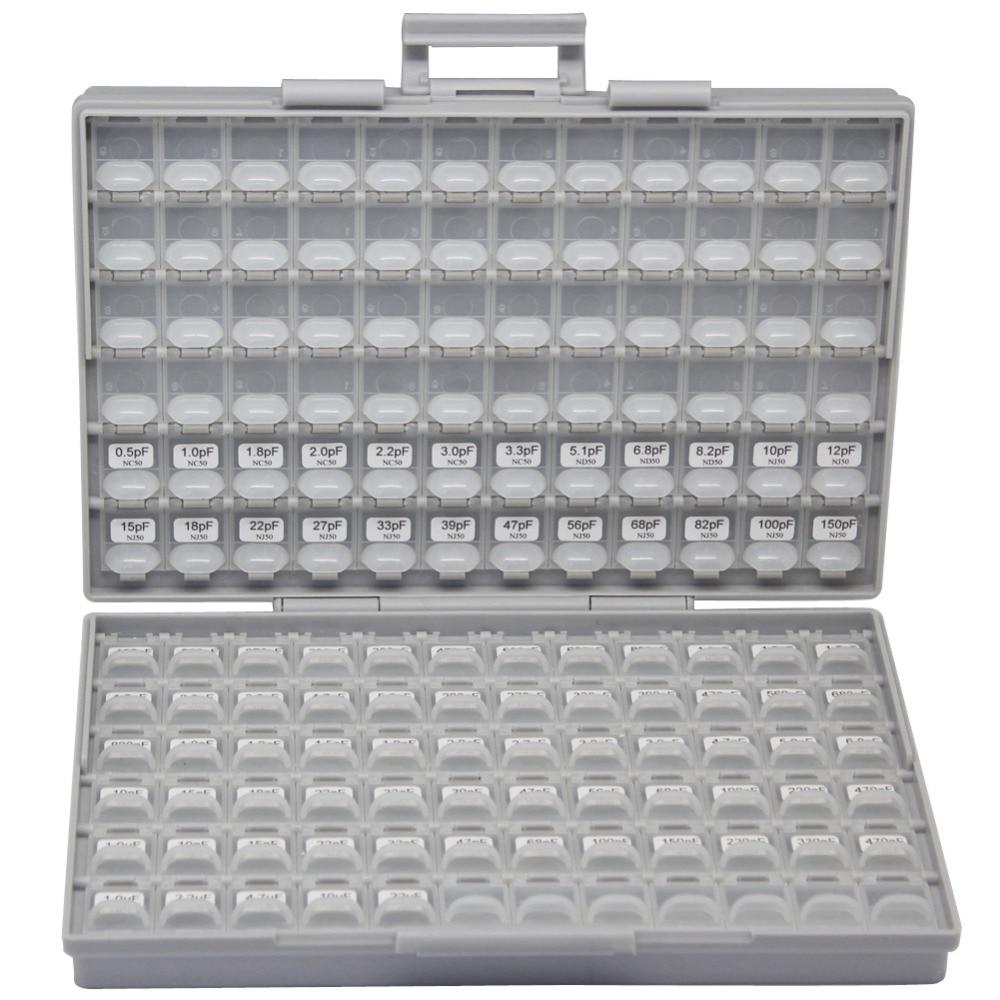 AideTek SMD 1206 Condensatorbox Kits tot 22uF 89V x 50st X7R NPO Gedistribueerde diverse condensator organizatie opslag C1250