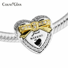 2017 Spring 925 Sterling Silver Wedding Heart Just Married Charms Beads To Make Jewelry & Yellow Light Color Gold Bow