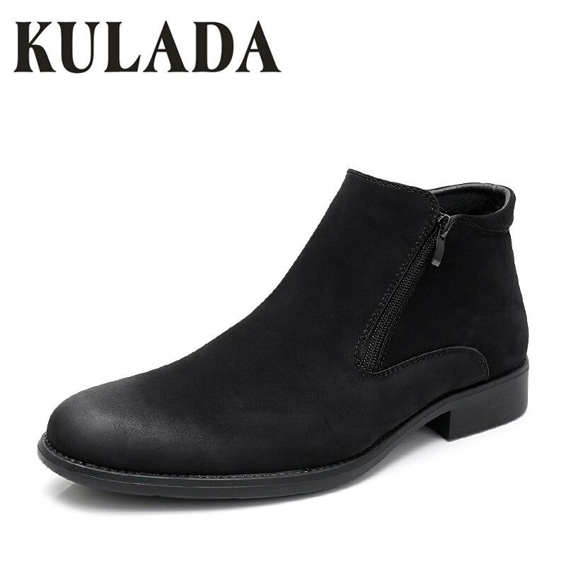 KULADA Boots Men Big Size Winter Shoes Men Leather Thick Fur Formal Boot Men Cow Suede Black Business Fashion Men Winter Shoes