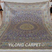 Yilong 9'x12′ Traditional classic medallion handmade rug large vantage persian carpet silk (0880)