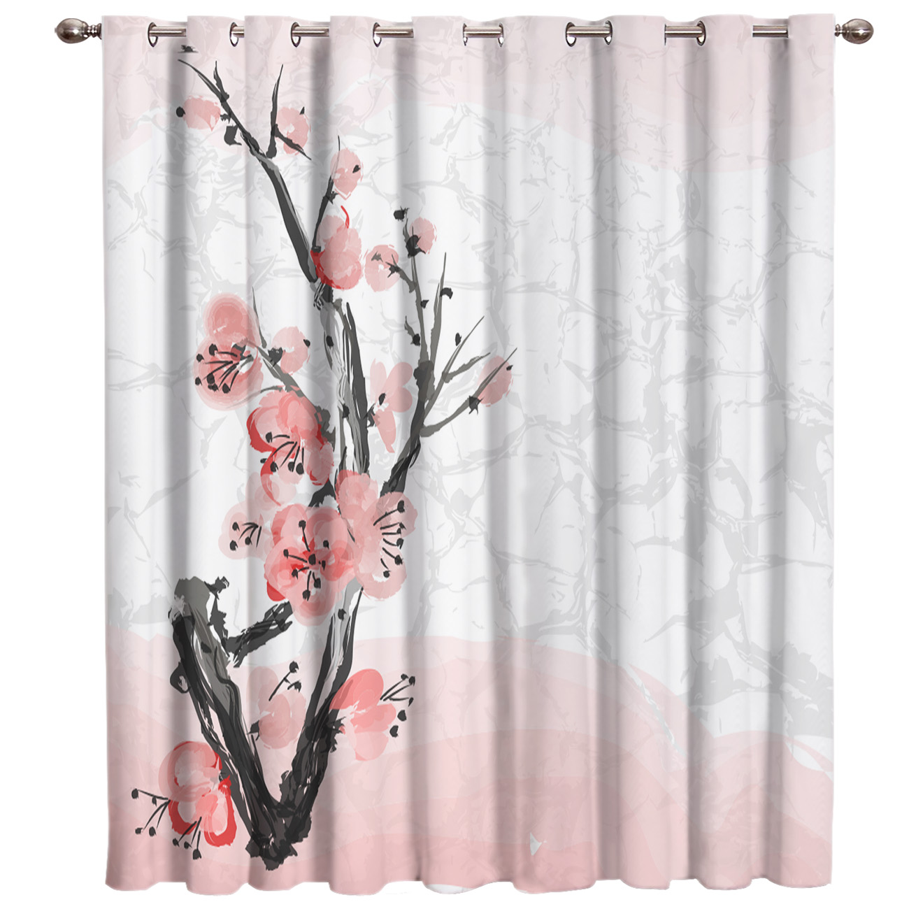 Pink Cherry Blossoms Flower Window Curtains Dark Curtain Lights Bathroom Blackout Outdoor Bedroom Indoor Decor Kids Curtain