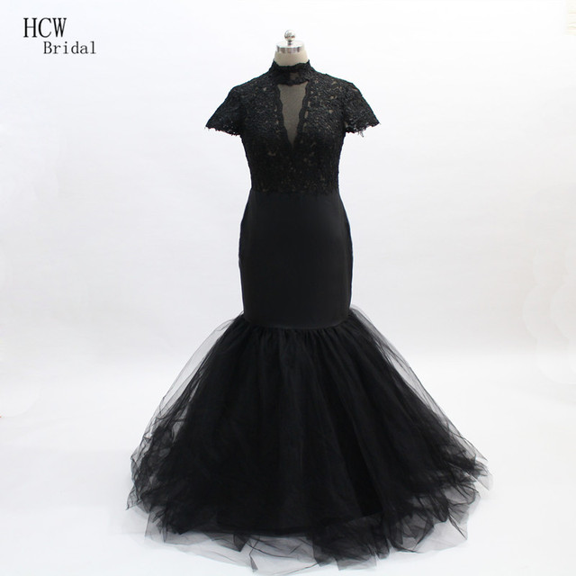 Black Mermaid Prom Dresses High Neck Short Sleeve Lace Top Long ...