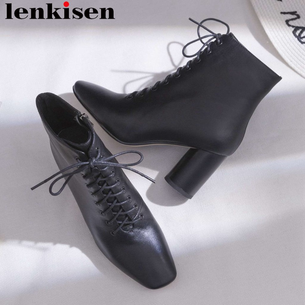 Lenkisen square toe round high heels office lady genuine leather solid handmade korean girls british style women ankle boots L59Lenkisen square toe round high heels office lady genuine leather solid handmade korean girls british style women ankle boots L59