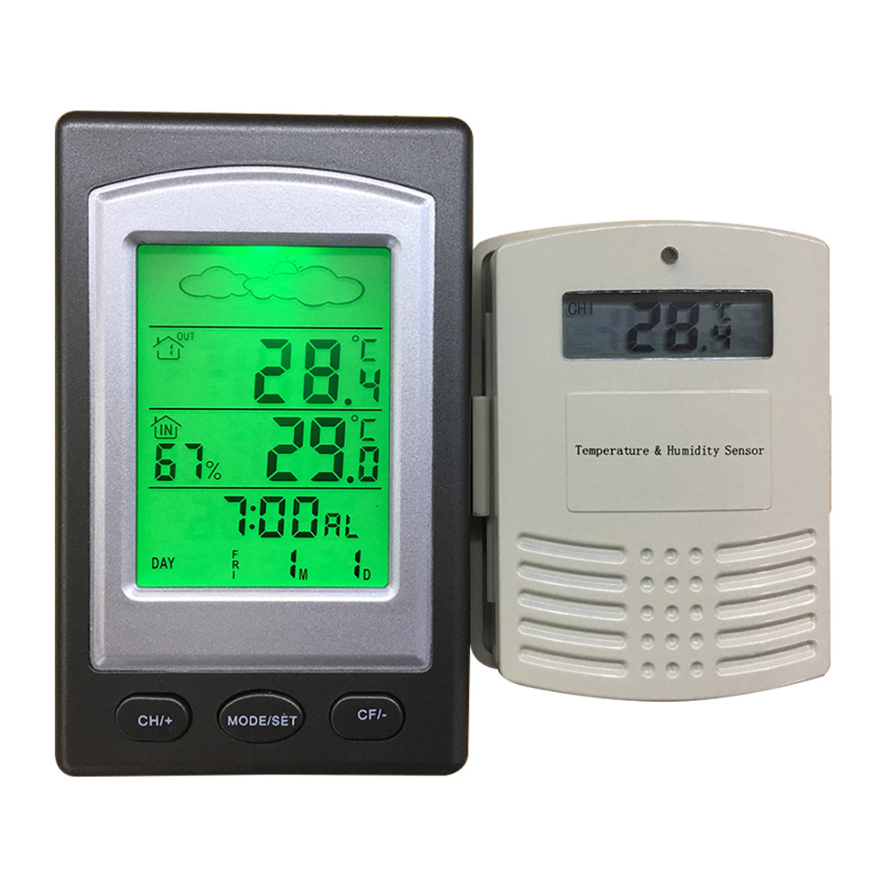 New Multifunctional Wireless Outdoor Indoor Weather Station Thermometer Humidity Meter Digital LCD