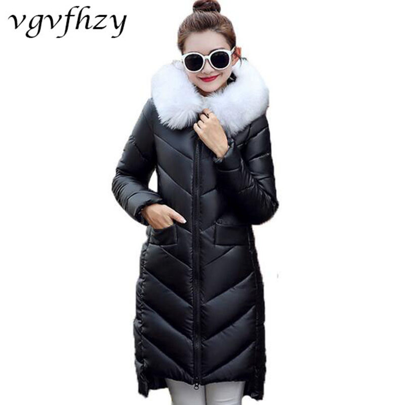 2017 New Arrival Winter Jacket Women Slim Hooded PU Leather Long Jacket Thick Cotton Padded Coat Casual Warm Parka Outerwear 2017 new winter jacket women lovely anime printing cotton padded student parka hooded overcoat thick warm long girl s slim coat