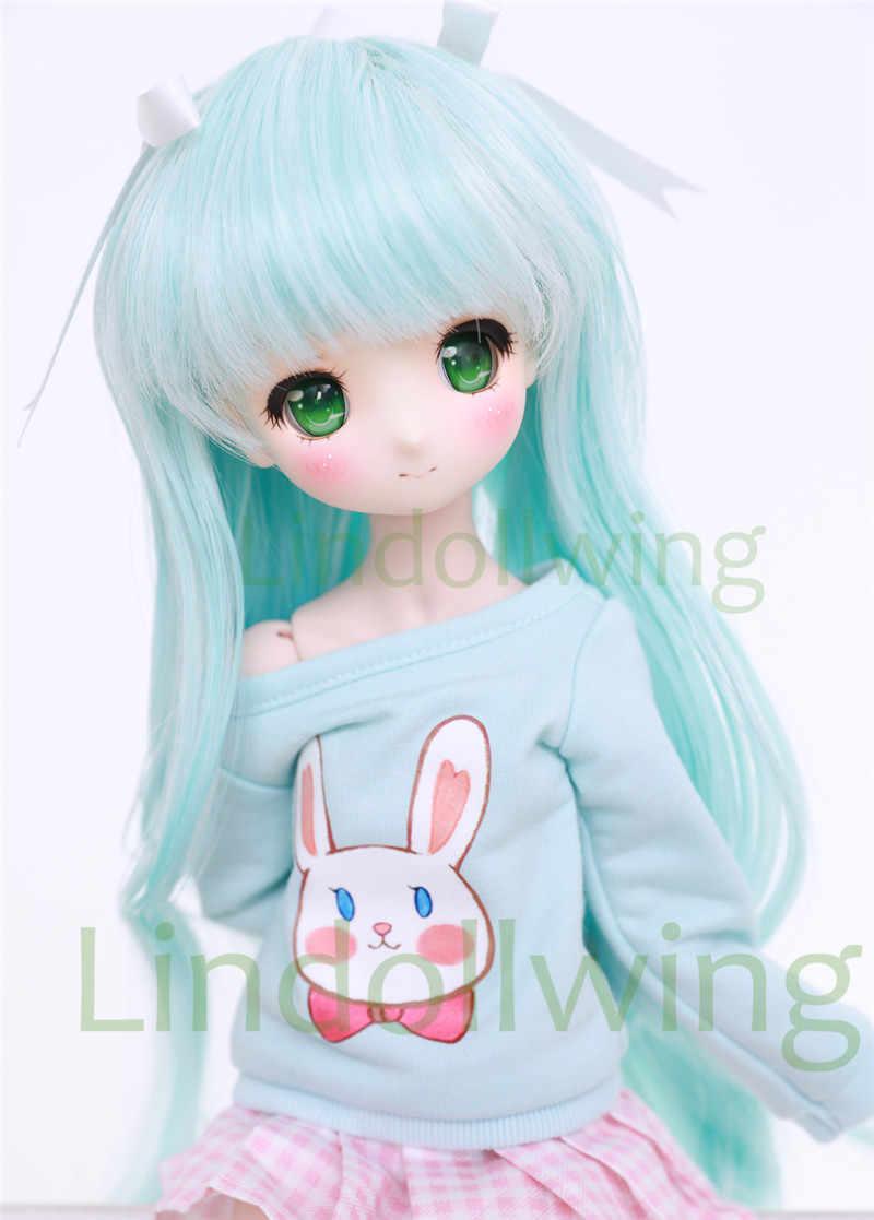 Perruque de poupée avec poupée 1/3 BJD-perruque Pullip, DD, SD, longueur 8-9 pouces, bleu blanc