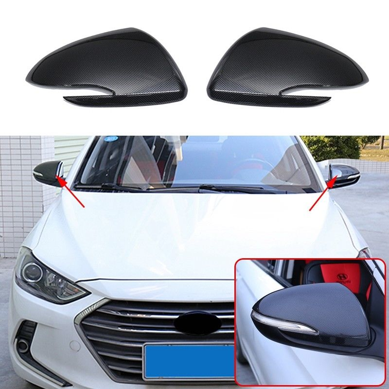 for HYUNDAI Elantra 2016-2019 2pc Carbon fiber color Rearview Mirrors Cover Cup